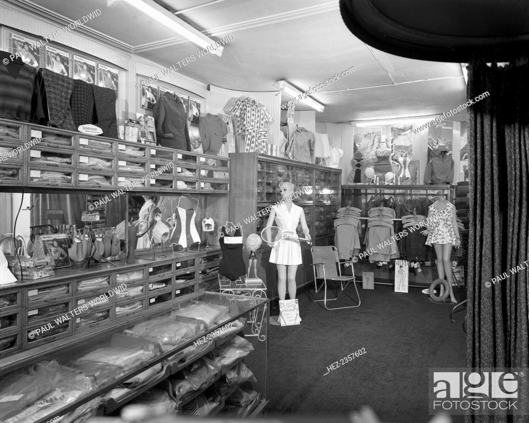 Sports shop interior  Sheffield  South Yorkshire  1961  The interior     Stock Photo   Sports shop interior  Sheffield  South Yorkshire  1961  The  interior of the clothing dept of Sugg sports store in 1961