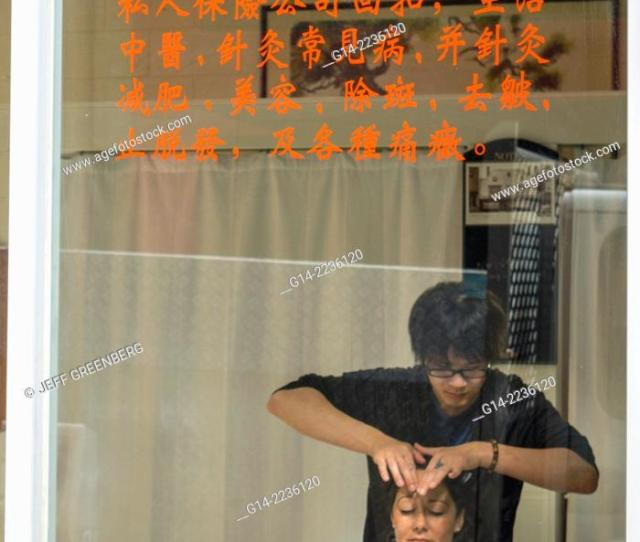 Stock Photo Australia Victoria Melbourne Central Business District Cbd Chinatown Little Bourke Street Asian Man Woman Customer Massage Parlor