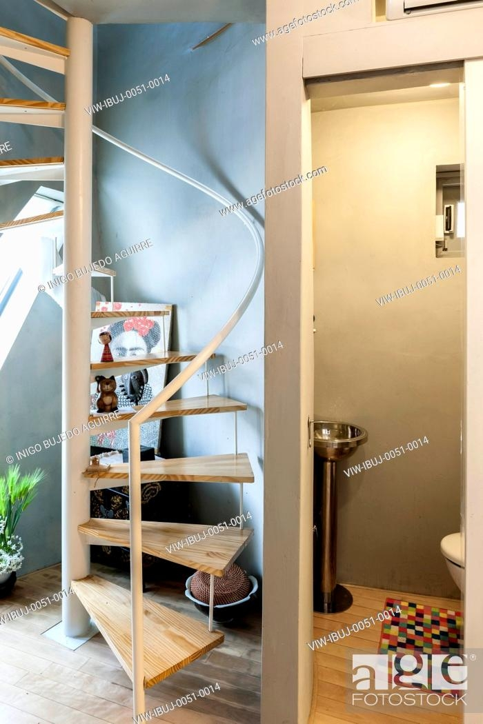 View Of Toilet And Spiral Staircase Mongdang House Extreme Small | Staircase For Small House | Indoor | Cupboard | Narrow | Duplex | Square