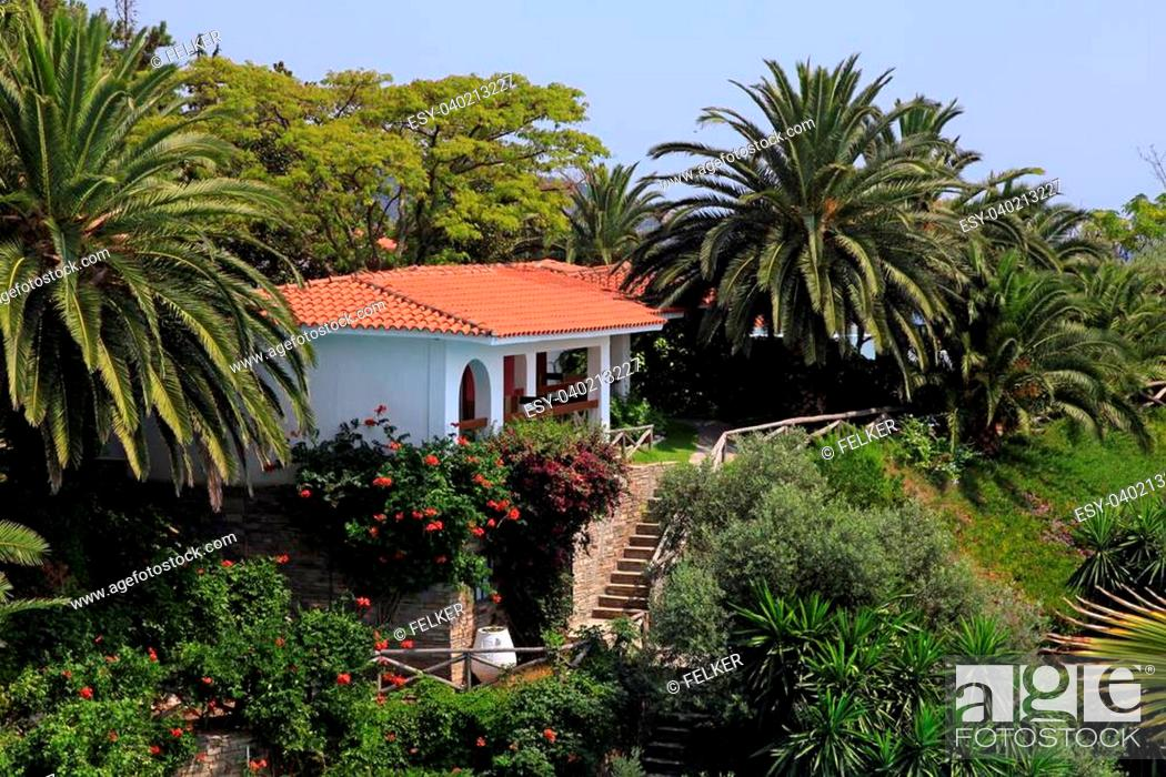 https www agefotostock com age en details photo beautiful white house with red tile roof small terrace and steps in the mediterranean garden greece esy 040213227