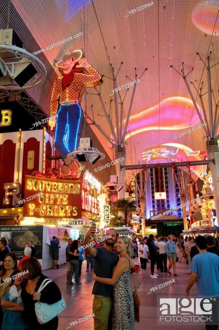 Stock Photo Overhead Light Show At The Old Strip Fremont Street Las Vegas Nevada Usa