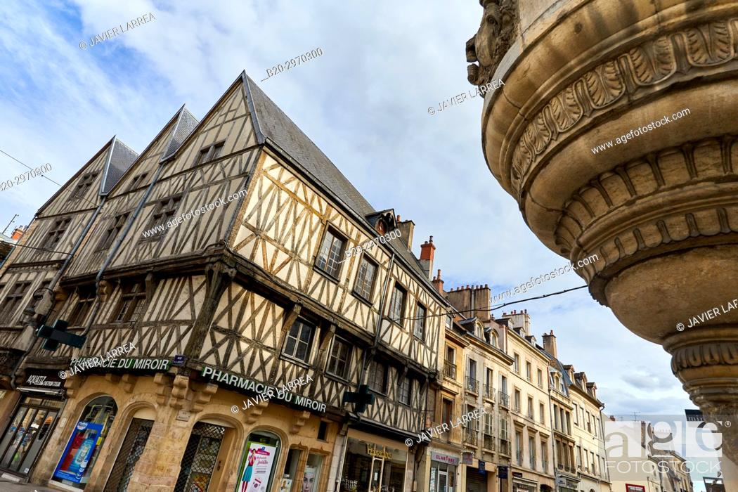 Traditional Timber Frame Tudor Style Buildings In Rue De La Liberte Dijon Cote D Or Stock Photo Picture And Rights Managed Image Pic B20 2970300 Agefotostock