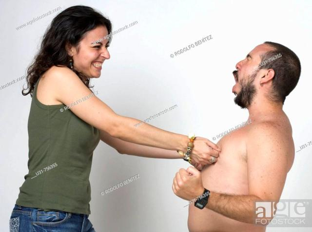 Stock Photo Young Newlywed Girl Pinching Her Husbands Nipples