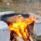Cooking Fish on Campfire in Cast Iron Pan