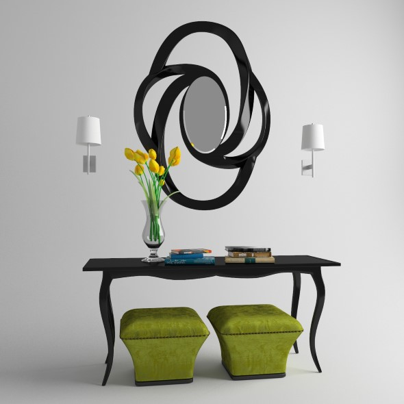 Console with mirror and poufs