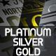 Platinum Silver Chrome and Gold Logo