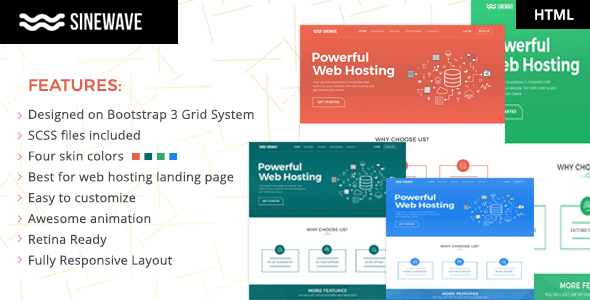 , Sinewave – One Page Hosting Landing Page HTML Template, Laravel & VueJs