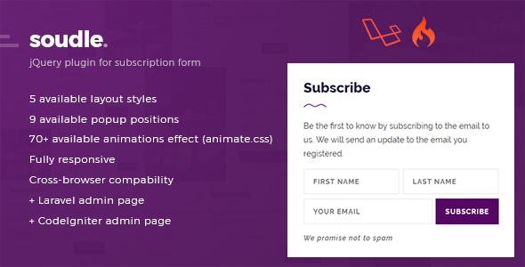 , Soudle.js – jQuery Plugin for Subscription Form + Laravel & CodeIgniter Admin Panel, Laravel & VueJs