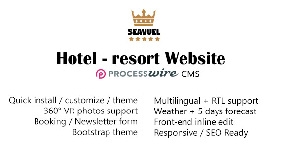 SeaVuel | Multilingual - Hotel website with CMS | Bootstrap 4 theme - PHP Script Download