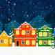 Cartoon Christmas Town Background