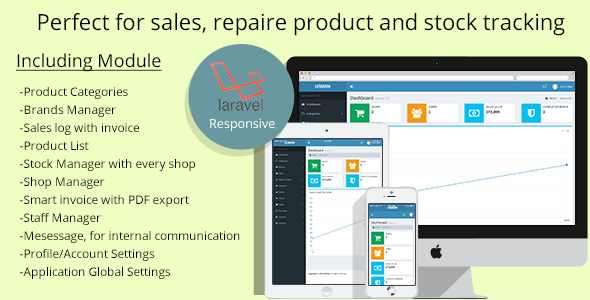 , Multistore sales and repair tracking system, Laravel & VueJs