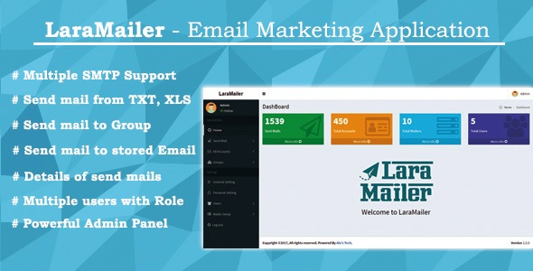 , LaraMailer – Email Marketing Application with Multiple SMTP Support, Laravel & VueJs
