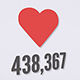 The Appearance of a Heart Icon With a Counter on a White Background