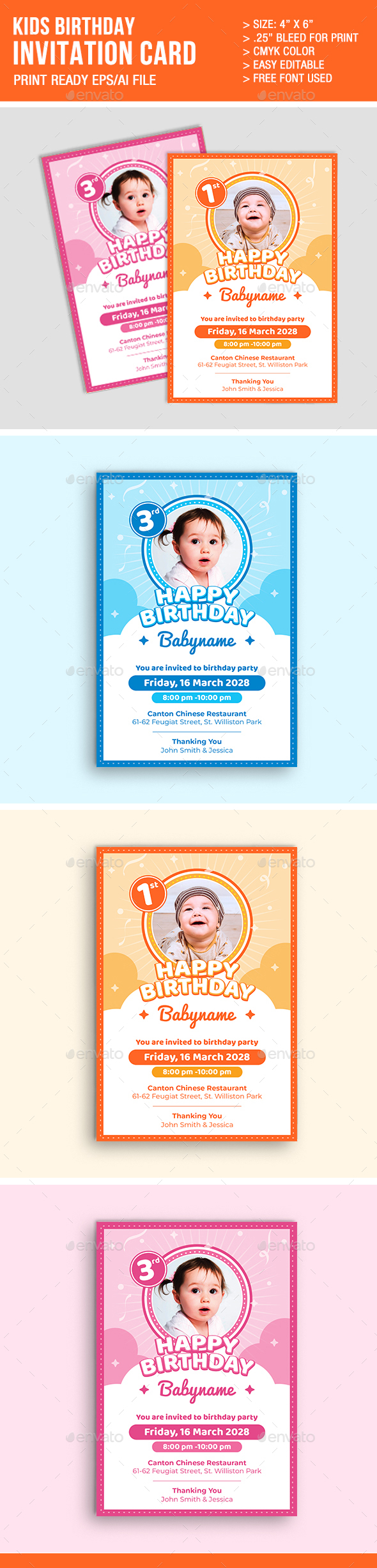 kids birthday invitation graphics