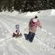 Two Happy Beautiful Children Have Fun Sleigh Rides in a Snow-covered Forest in the Mountains in the