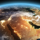 4K Earth Night to Day Sunrise Middle East
