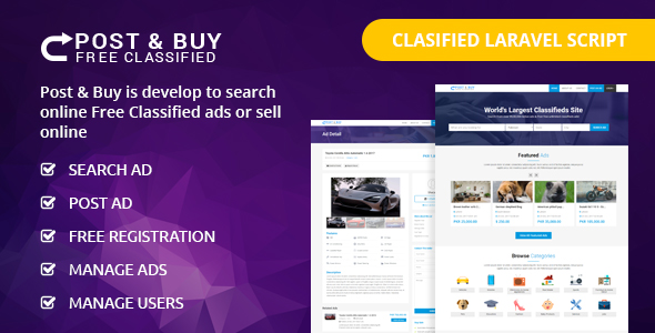 , Post and Buy – Classified Ads Listings, Laravel & VueJs, Laravel & VueJs