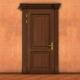 Opening wooden door.