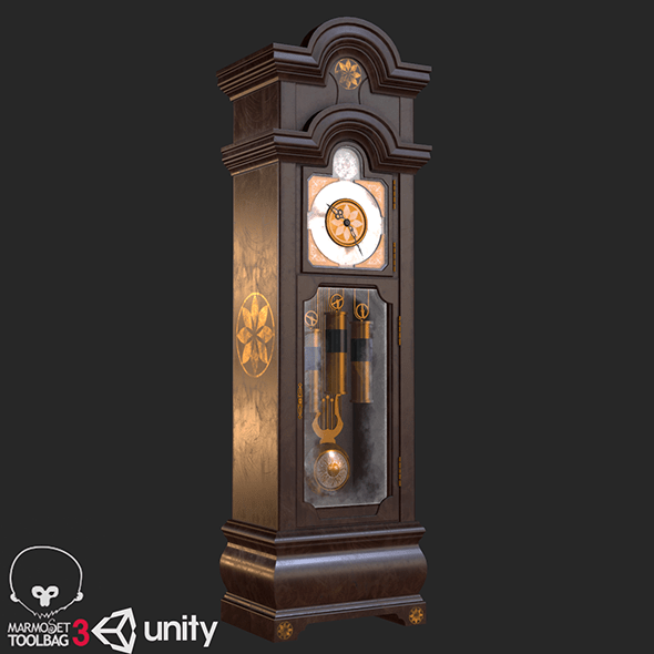 Old Antique Grandfather Clock PBR