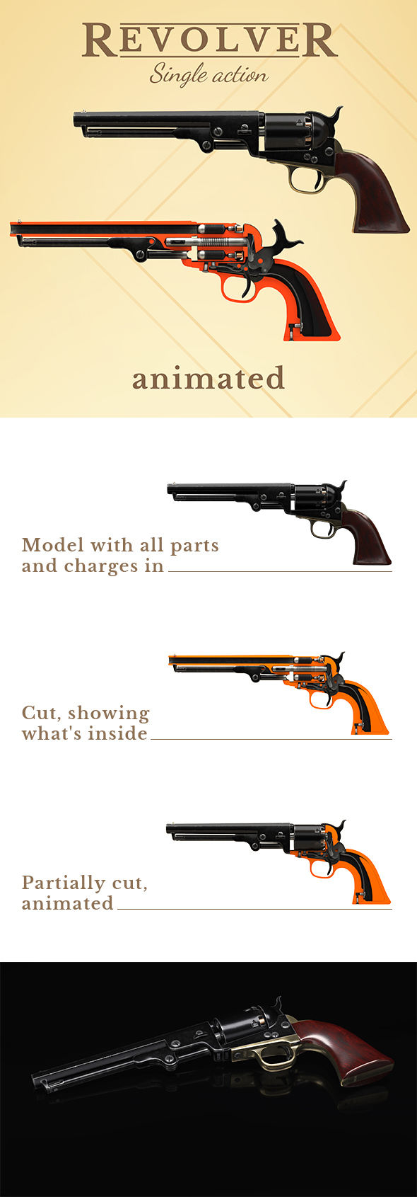 Single action revolver, animated