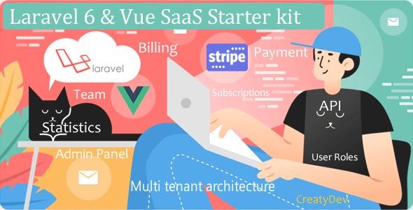 , SaaSWeb, Laravel 6 & vue SaaS Starter kit, Laravel & VueJs, Laravel & VueJs
