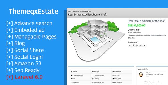 , ThemeqxEstate – Laravel Real Estate Property Listing Portal, Laravel & VueJs