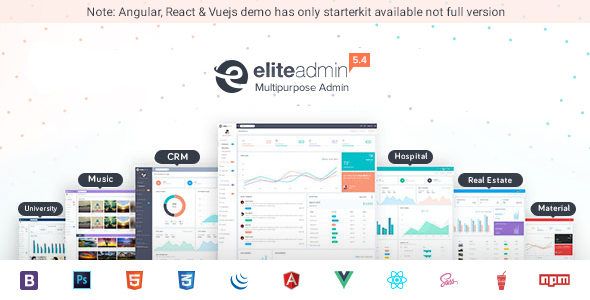 , Elite Admin – Multipurpose Bootstrap, Angular, React & VueJs Dashboard Template, Laravel & VueJs, Laravel & VueJs