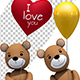 Teddy Bear Holding Red Love Heart Balloon (2-Pack)