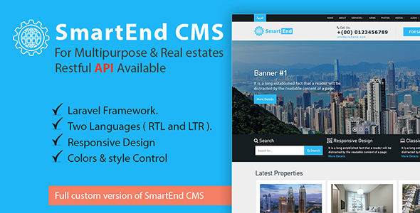 , SmartEnd CMS for multipurpose & real estate with Restful API, Laravel & VueJs