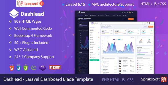 , Dashlead – Laravel Admin Template, Laravel & VueJs, Laravel & VueJs