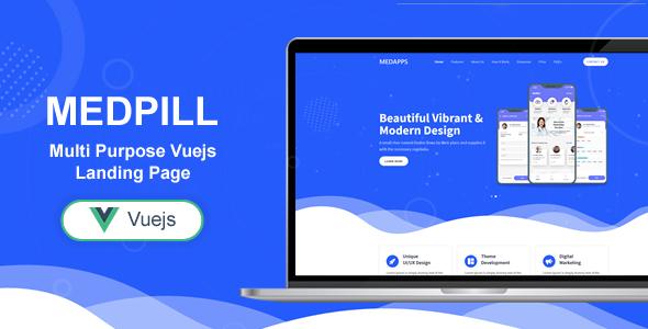 , Medpill – Bootstrap 4 Vue Js Multi Purpose One Pages Template, Laravel & VueJs