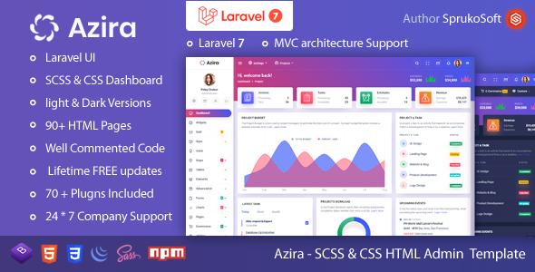 , Azira – PHP Laravel Admin Template, Laravel & VueJs, Laravel & VueJs