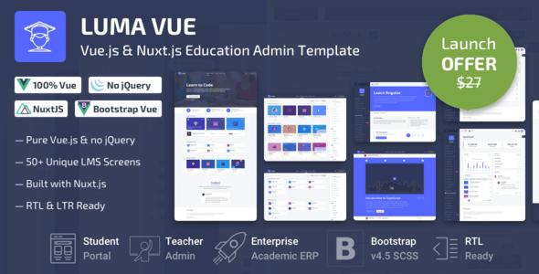 , Luma Vue – Nuxt.js & Vue.js Learning Management System Admin Template, Laravel & VueJs, Laravel & VueJs