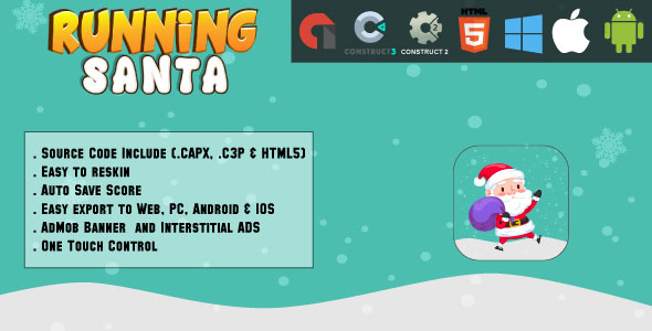 Running Santa - HTML5 Game - Net & Cell + AdMob (CAPX, C3p and HTML5) - PHP Script Download 1
