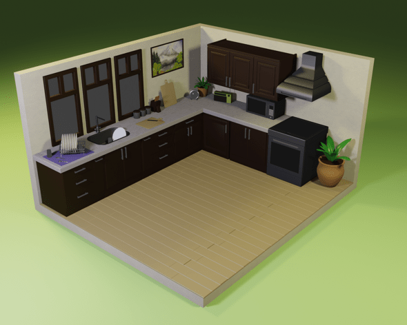 stylized kitchen