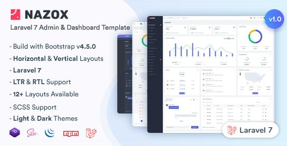 , Nazox – Laravel Admin & Dashboard Template, Laravel & VueJs, Laravel & VueJs