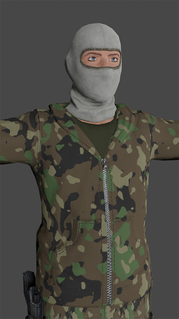 Man Tactical Soldier Low-poly 3D model Ready for games