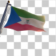 Equatorial Guinea Flag on a Flagpole with Alpha-Channel