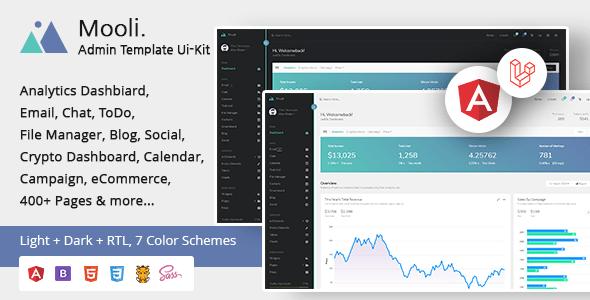 , Mooli – Angular, Laravel, HTML Admin Template & Ui-Kit, Laravel & VueJs