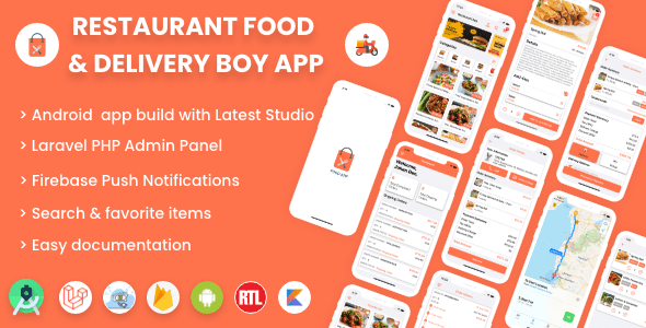 , Single restaurant Android food ordering app with Delivery Boy and Admin Panel, Laravel & VueJs