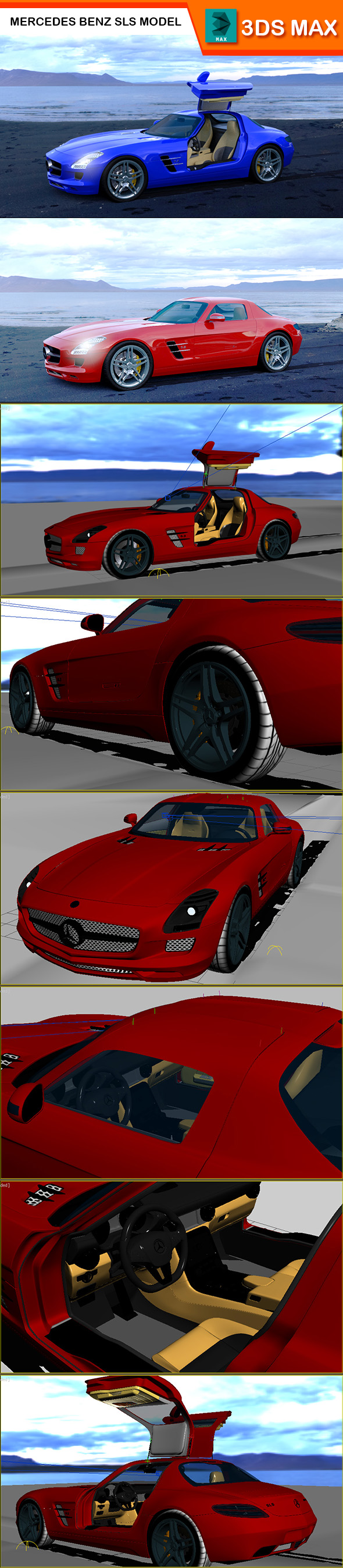 Mercedes Benz SLS Model with Render Setup