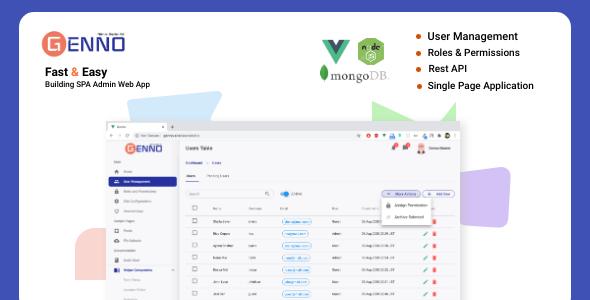 , Genno Admin Starter Kit –  User Management, Roles and Permissions, Laravel & VueJs