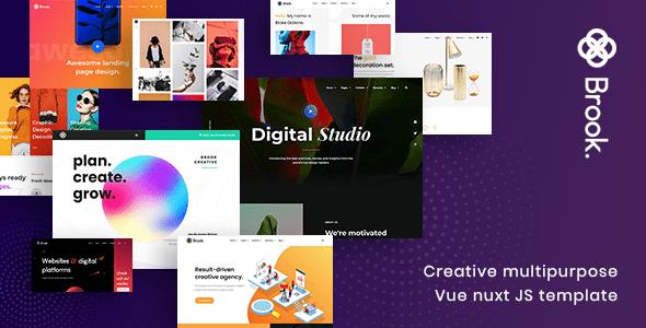 , Brook – Creative Multipurpose Vue Nuxt JS Template, Laravel & VueJs