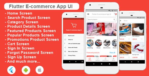 flutter ecommerce app ui preview