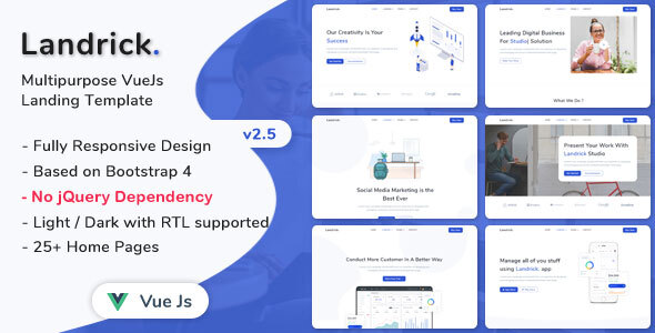 , Landrick – VueJs Landing Page Template, Laravel & VueJs