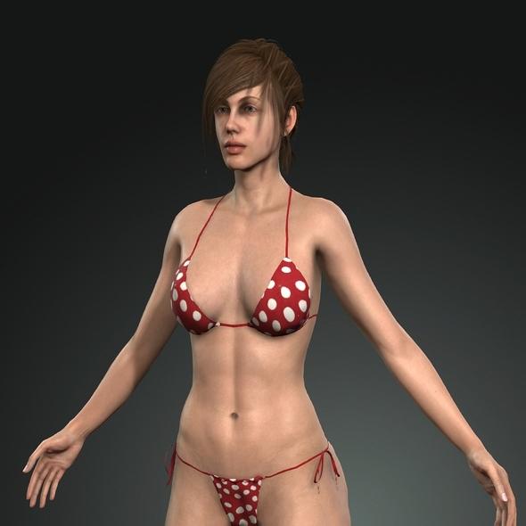 Cute Sexy and Hot Beautiful Girl  girl in bikini 3D Model and Textures