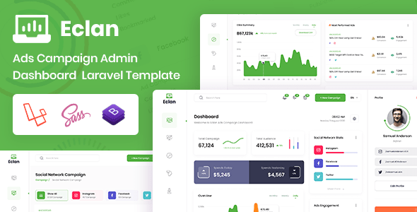 , Ads Campaign Laravel & Bootstrap Admin Dashboard, Laravel & VueJs
