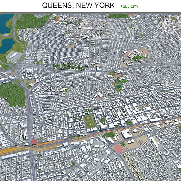 Queens city New York 3d model 60km