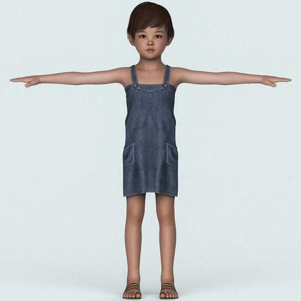Child Baby Girl 3D Character