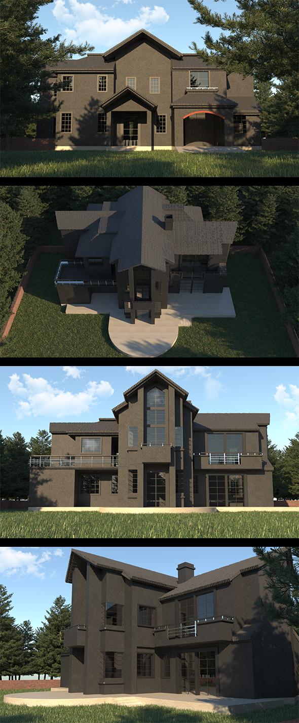 Realistic Black Villa Design